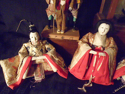 4 + 3 + 1 Antique Japanese Hina Imperial Court Empres Dolls With Gofun Faces 5