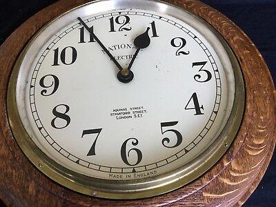 1930s Art Deco Oak Industrial Large Office Wall Clock, Working 2