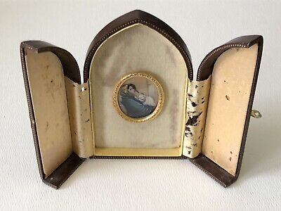 Vtg Italian Leather Case Miniature Hand Painted Holy Religious Madonna Celluloid 4