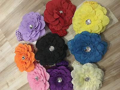 bandeau bébé fleur élastique tête accessoire cheveux fille enfant mariage fête 3