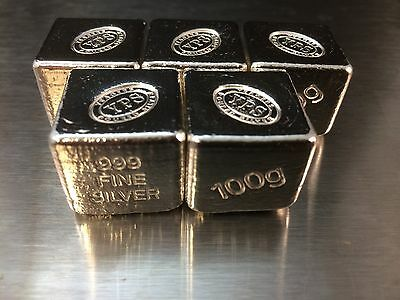 100g Hand Poured 999 Silver Bullion Bar by Yeager's Poured Silver YPS - Cube 2
