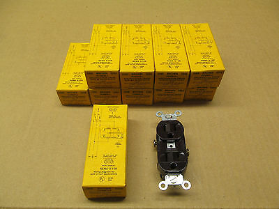 10 Nib Hubbell Hbl5242 5242 Receptacle Nema 5-15R 15A 125V 3W Brown(2 Available) 3