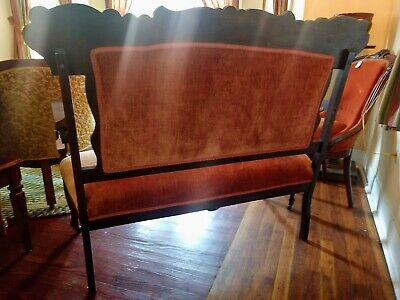 Antique Victorian Orange Velvet Eastlake Parlor Settee - LOCAL PICK UP ONLY 5