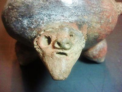 Ant. Pre-Columbian Redware PotteryTripod Pot Bowl Figural Rattle Feet Polychrome 10