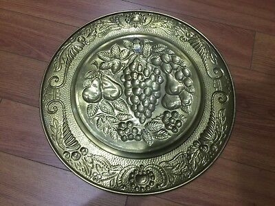 "Lot of 4 Vintage Peerage Embossed Brass Wall Plate ,14"" ,Made in England 7"
