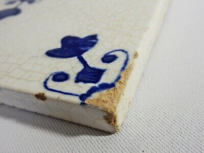 Antique Original Delft Tile Washstand Fireplace Wash Stand Blue White Victorian 2