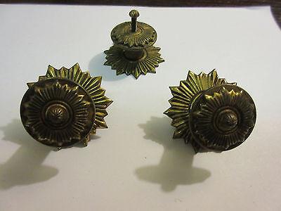 3 Vintage Regency Brass Hardware Drawer pulls Handles Dresser pierce carved 2