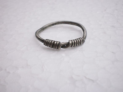 RARE ANCIENT Authentic Silver FINGER RING   Goths 3 - 4 century AD # 2