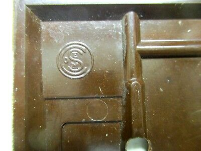 Sem Co 1801 USA Brown Bakelite Antique Switch Wall Plate Cover Fine Lines Dots 6