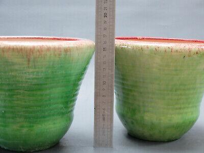 Accolay 1950 Paire Cache Pot Vintage Vert Faience Vase Ceramique Blin Capron Era 5