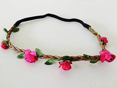 Floral flower headband wedding bridesmaid festival summer boho hair band garland 12
