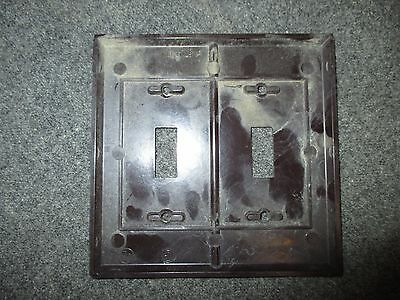 Vintage Bakelite  Brown Switch Plate Cover Two Gang Two Switch Box Mcm Eagle 2
