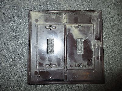 Vintage Bakelite  Brown Switch Plate Cover Two Gang Two Switch Box Mcm Eagle