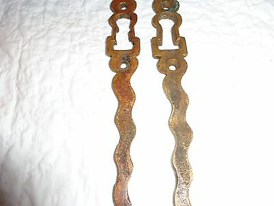 Rare Pair of 19th.c Solid Brass Serpentine Key Escutcheons 8