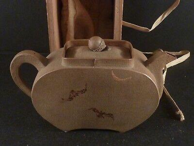 Antique Japanese Yixing Like Clay Teapot w. Original Wood Box Meiji