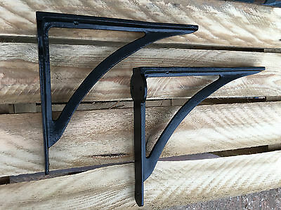 "Pair of Black 8x7"" CAST IRON VICTORIAN IRONBRIDGE SHELF BRACKETS ANTIQUE BR11bx2"