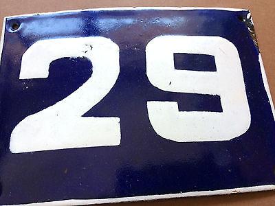 ANTIQUE VINTAGE ENAMEL SIGN HOUSE NUMBER 29 BLUE DOOR GATE STREET SIGN 1950's
