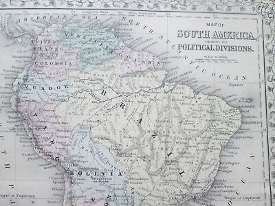 1871 ANTIQUE MAP of SOUTH AMERICA   by  S. AUGUSTUS MITCHELL 2
