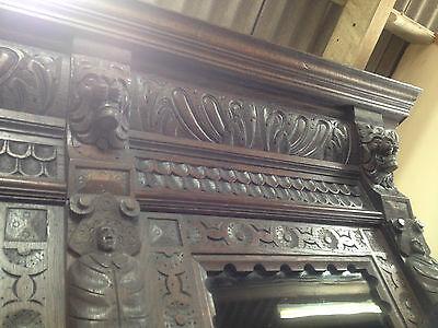 Carved Victorian Oak Library Bookcase Angel Dresser GreenMan LionsHead PussyOak1 11