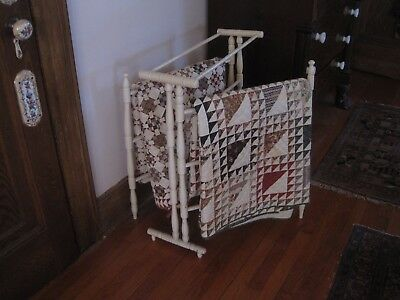 Antique Wood Quilt Rack Center Section & Two Outside Movable  Arms 8