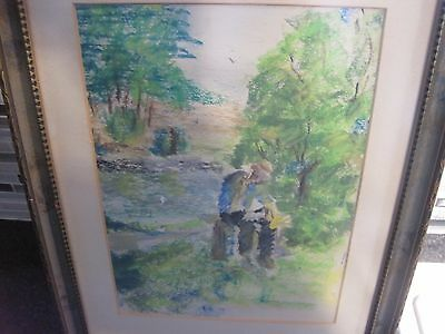 Watercolor Original Painting Art Quick sketch NICELY FRAMED UNSIGNED MAN WOODS 3