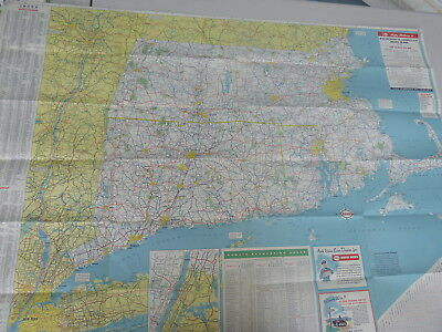 1950 S.  New England road map Esso oil gas Faneuil Hall Massachusetts CT RI 3