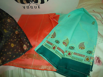 6 NEW Colourful Mixed Fibre Scarves Asian Pakistani Indian Short Duppata  #16
