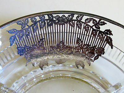Vintage STERLING SILVER Art Deco Overlay Cut Glass 3 Section CANDY Bowl Dish 3