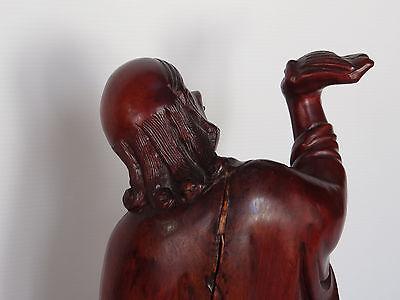 Escultura Estatuilla Japonés de Madera Hierro Ojos Sulfuro Shapes Mano 1900 C424 4