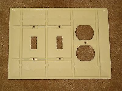 LG Vintage SIERRA BAKELITE Ribbed TRIPLE Light Switch Outlet Plate Cover Lines 1 3