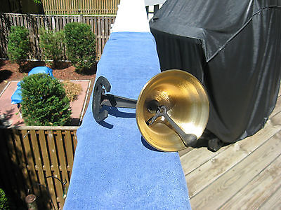 Vintage Brass Dinner/Farm Bell With Horseshoe Mount~Made In Japan 6