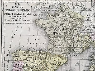 Map Of France N Italy.Hand Colored Map Of France Spain Italy 1855 Mitchell S School Atlas