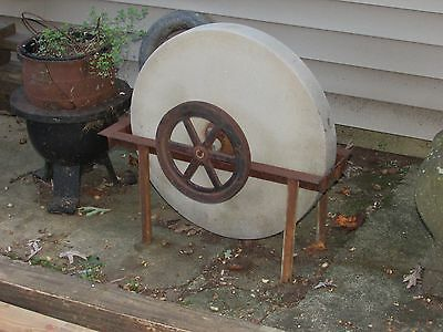Antique Grinding Stone Wheel Industrial Iron Steampunk Garden Sculpture 9