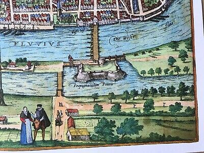 Old Antique Historic Map Bremen, Germany: 1598 Braun & Hogenberg REPRINT 1500's 7