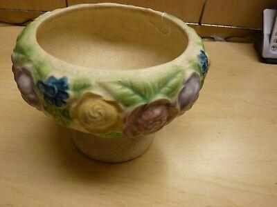 Roseville Pottery Rozane 1917 Floral Compote / Vase / Urn / Planter 3