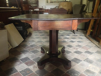 Exceptional Antique Mahogany 19th Century Flap Top Pedestal Table Dining Tea 9