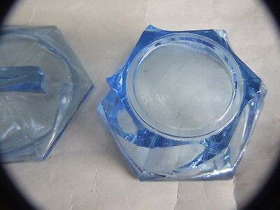 Antique Art Deco Blue Glass Powder Box Boudoir with Lid 1930's 10