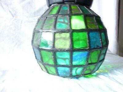 Bleiverglaster runder Lampenschirm 50iger-60iger Jahre 2
