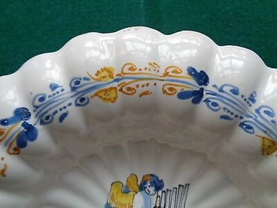 Rare Antique Nevers France Faience 17th Century Lobbed Bowl Putti & Pan Flute 5