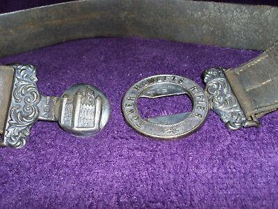 Rare Victorian Silver Tower Hamlets Rifles Officers Belt Buckle & Belt/Militaria 6