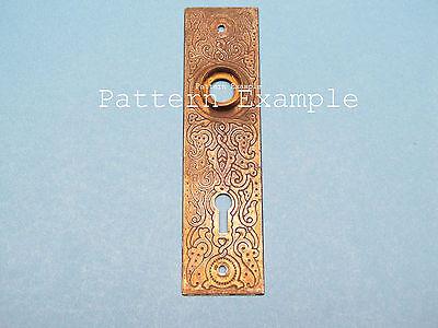 Antique Victorian Cast Iron Brass Knob Flange Door Backplate Eastlake Back Plate 3