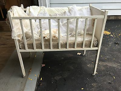 Antique White Wooden Rustic Baby Crib Detailed Wheels Vintage