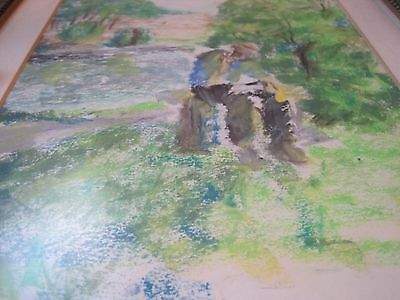 Watercolor Original Painting Art Quick sketch NICELY FRAMED UNSIGNED MAN WOODS 5