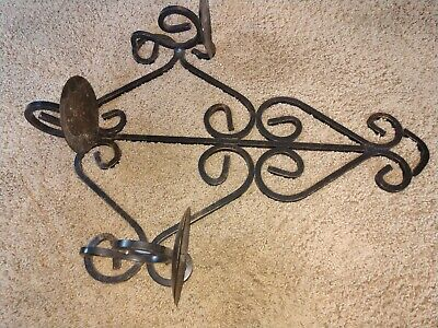Vintage Gothic Medieval Wrought Iron Triple  Arm Candelabra Wall Sconce Fixture 3
