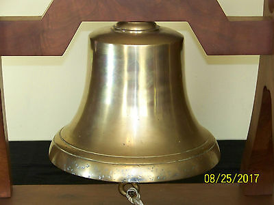 "Vintage Brass Nautical Ships/Harbor ""Large"" Bell w/Custom Made Wood Stand"