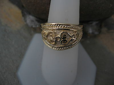 14 KT Yellow Gold Polished Byzantine Finish Etruscan Design Cigar Band Ring NEW 9