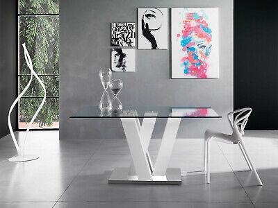 Tavoli Da Pranzo Vetro E Legno.Tavolo Da Pranzo Skenniosk Con Piano In Vetro Base Metallo Cromato