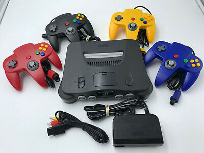 Choose Nintendo 64 Console Color + Up to 4 Controllers + Cords!  CLEANED N64! 8