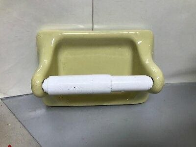 "VTG Yellow Mid Century Bathroom Toilet Paper Holder Porcelain Glossy 7"" 3"