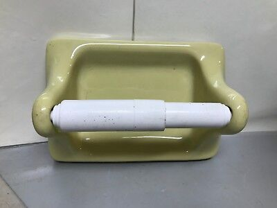 "VTG Yellow Mid Century Bathroom Toilet Paper Holder Porcelain Glossy 7"" 2"